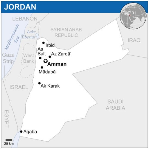 Amman is located in the northwestern corner of Jordan. Map by the UN Office for the Coordination of Humanitarian Affairs (OCHA)/Creative Commons
