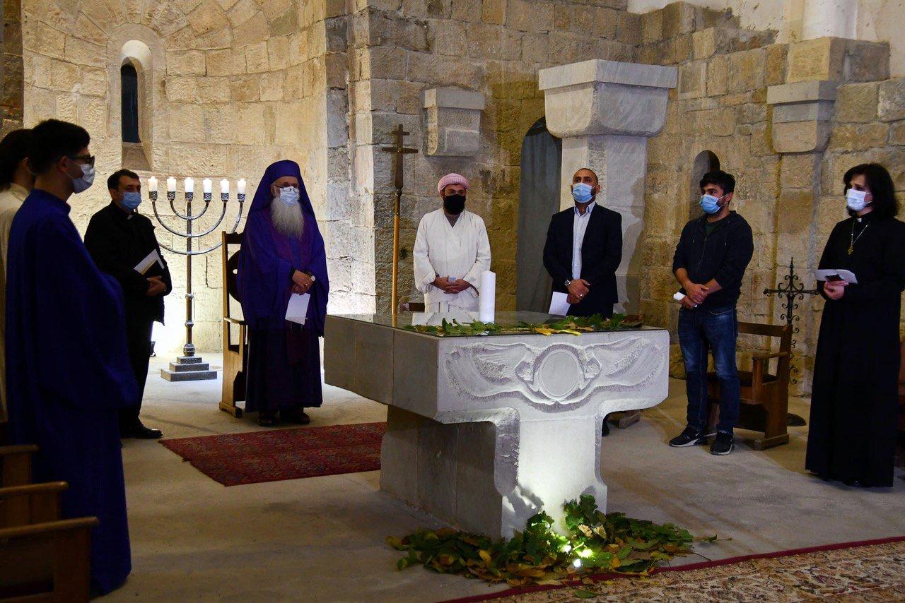Bishop Malkhaz Songulashvili, center left in purple, during a service in Tbilisi, Georgia. Courtesy photo