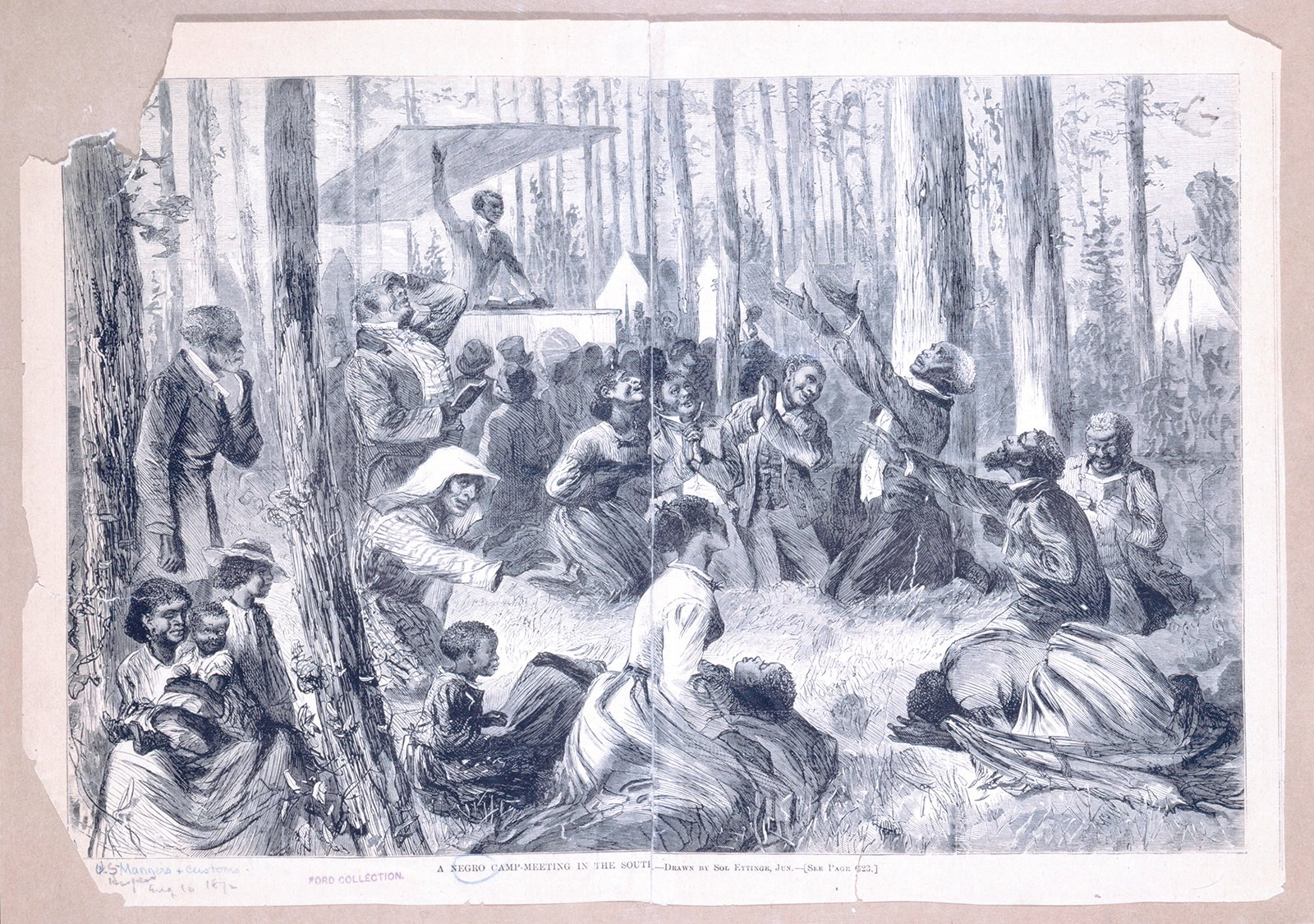 """""""A Negro camp meeting in the South."""" A man preaching with arm raised, top, to a group in the woods. Image courtesy of the Schomburg Center for Research in Black Culture, The New York Public Library"""