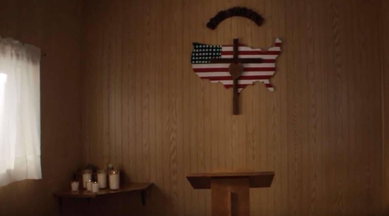 A Jeep commercial that aired during the Super Bowl highlighted a chapel in Lebanon, Kansas. Video screengrab
