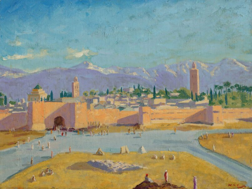 """""""Tower of the Koutoubia Mosque"""" painting by Winston Churchill. Painted in January 1943. Image via Christie's"""