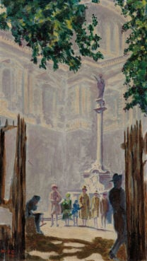 """""""St Paul's Churchyard"""" painted by Winston Churchill. Painted in 1927. Image via Christie's"""