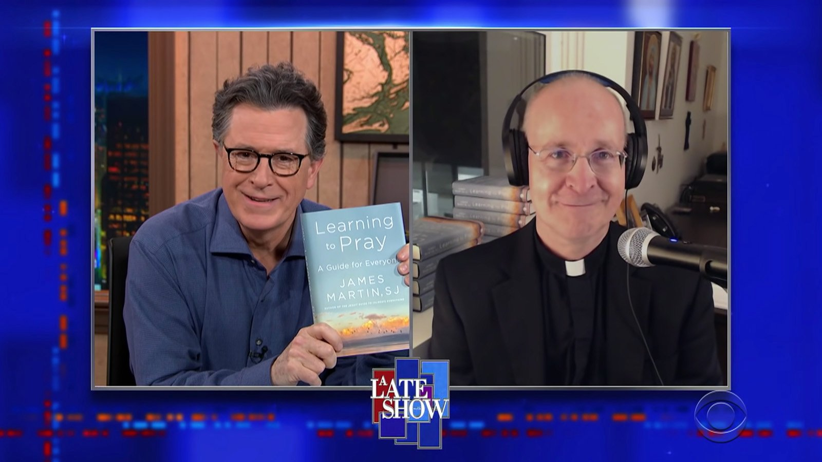 "Stephen Colbert, left, interviews the Rev. James Martin, Feb. 3, 2021, on ""A Late Show with Stephen Colbert"" on CBS. Video screengrab via CBS"