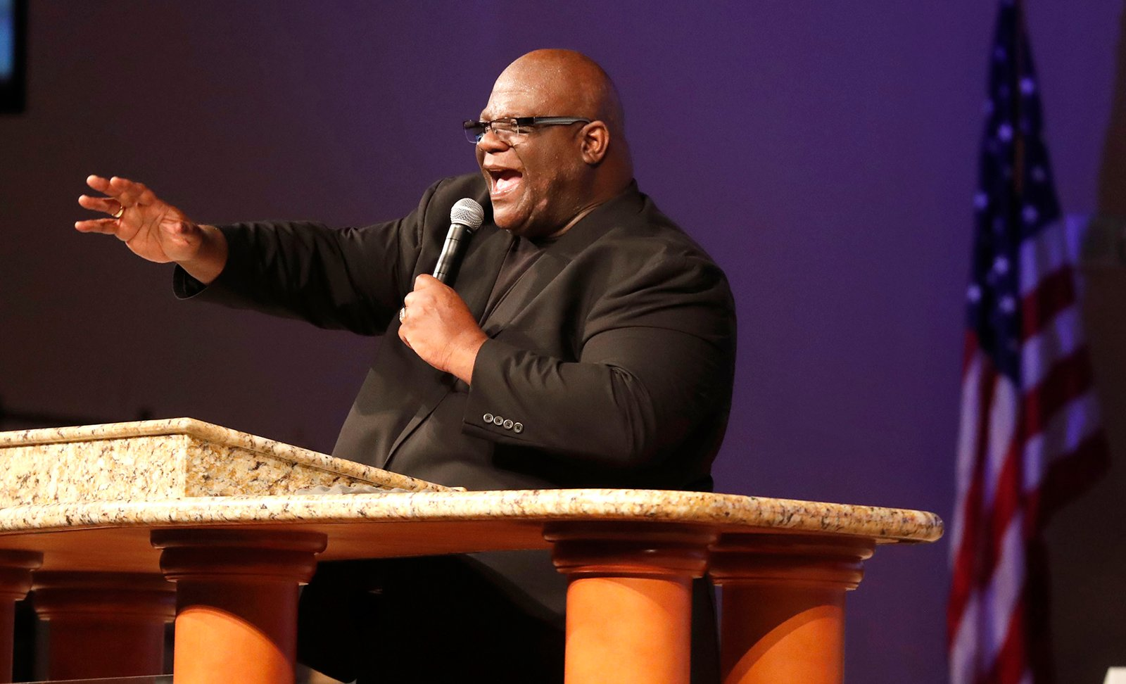 The Rev. Dwight McKissic, pastor of Cornerstone Baptist Church, speaks during services in Arlington, Texas, on June 7, 2020. (AP Photo/LM Otero)