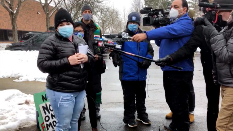 Edith Espinal, left, speaks with the press after leaving sanctuary Feb. 18, 2021, in Columbus, Ohio. Video screengrab