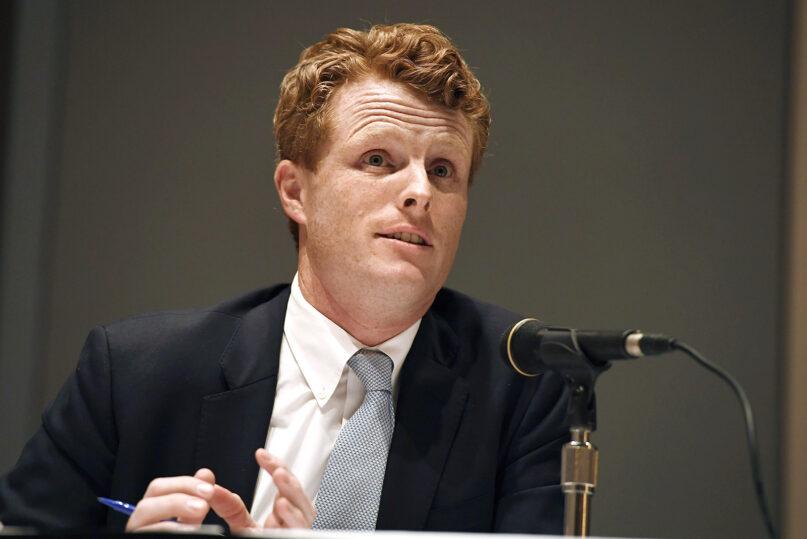 U.S. Rep. Joe Kennedy III speaks on a panel on race and politics, Saturday, Sept. 14, 2019, in Springfield, Mass. (AP Photo/Jessica Hill)