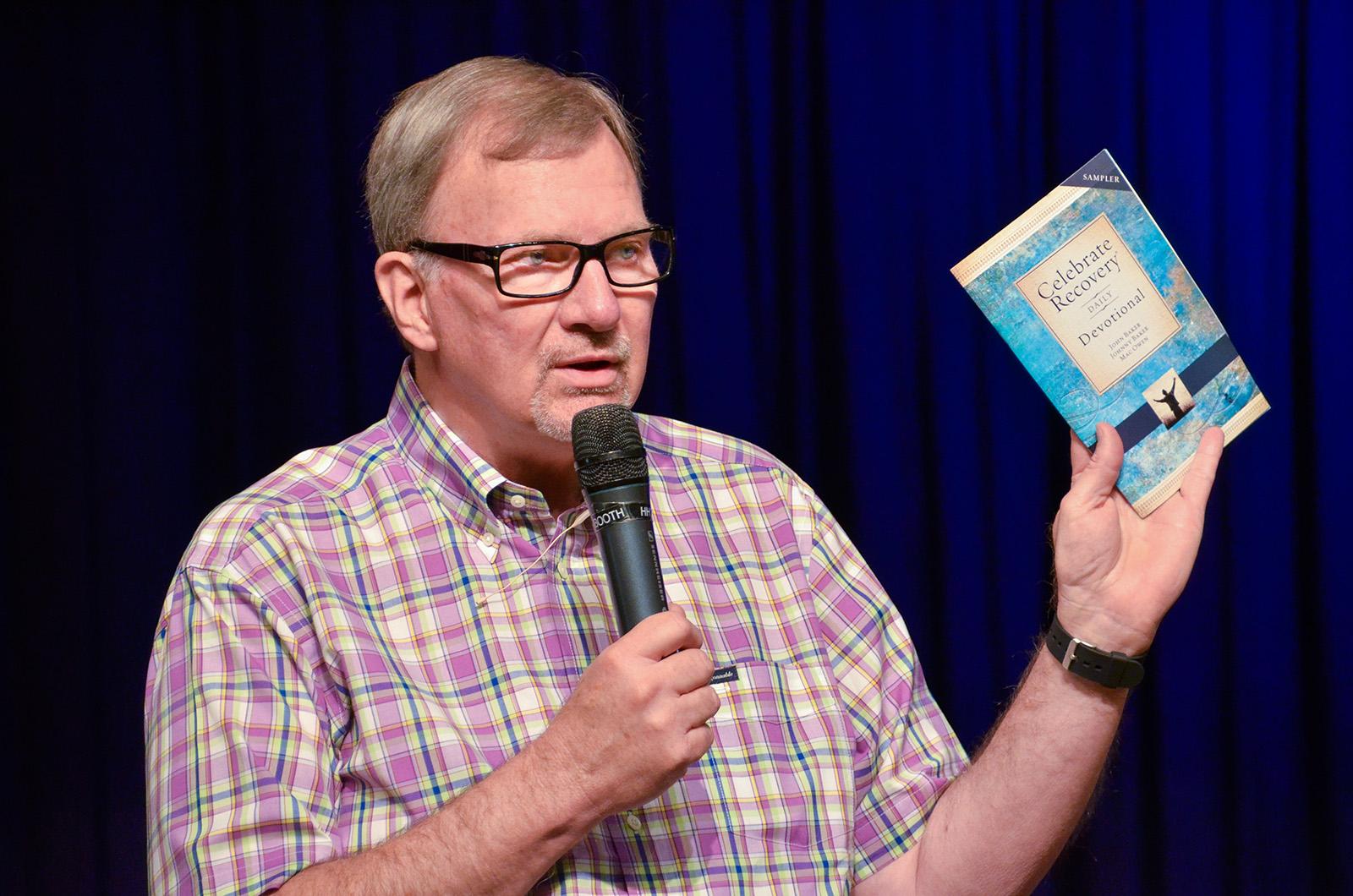 Celebrate Recovery co-founder John Baker speaks at Saddleback Church in Lake Forest, California, on Aug. 13, 2013. Photo by Robert Hawkins, courtesy of Saddleback Church