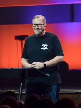 John Baker speaks during the West Coast Celebrate Recovery Summit at Saddleback Church in Lake Forest, California, on Aug. 12, 2016. Photo by Dave Maurer, courtesy of Saddleback Church
