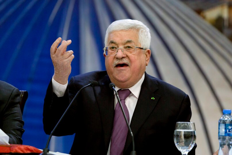 FILE - In this Jan. 22, 2020 file photo, Palestinian President Mahmoud Abbas speaks after a meeting of the Palestinian leadership in the West Bank city of Ramallah. (AP Photo/Majdi Mohammed, File)