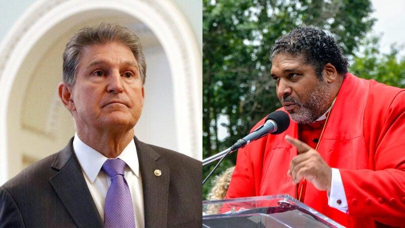 Sen. Joe Manchin, left, and the Rev. William Barber. (Left, AP Photo/Patrick Semansky. Right, RNS Photo/Jack Jenkins)