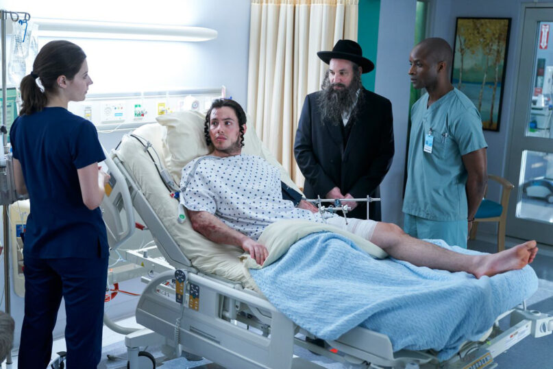 """The character Israel, center, in a scene from """"Nurses"""" Episode 108. (Photo by Ken Woroner/eOne/NBC)"""