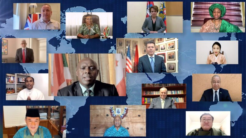 People from around the globe recite the Lord's Prayer during the the 2021 National Prayer Breakfast. Video screengrab