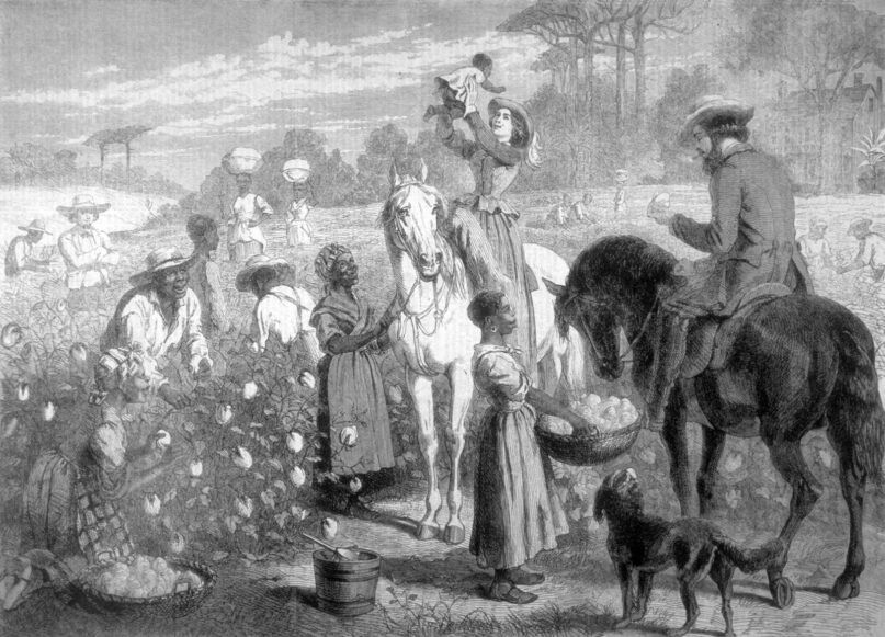 No guessing who in this 1864 depiction may have been compensated after slavery ended. (Image by API/Gamma-Rapho via Getty Images)