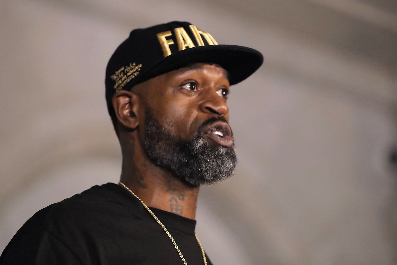 Stephen Jackson, a friend of George Floyd, speaks during a news conference, Tuesday, June 2, 2020, in Minneapolis, Minn. The nation saw protests against police brutality sparked by the death of George Floyd, a black man who died after being restrained by Minneapolis police officers on May 25. (AP Photo/Julio Cortez)