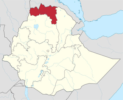 The Tigray region, red, in northern Ethiopia. Map courtesy of Creative Commons