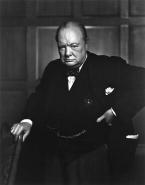 """Winston Churchill in 1941, known as """"The Roaring Lion"""" portrait. Photo by Yousuf Karsh/Creative Commons"""