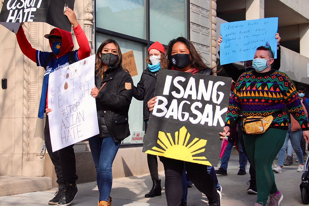 The Chicago rally and march, organized by the Asian American Christian Collaborative, was one of 14 events Sunday, March 28, 2021, held as part of the National Rally for AAPI Lives and Dignity. RNS photo by Emily McFarlan Miller