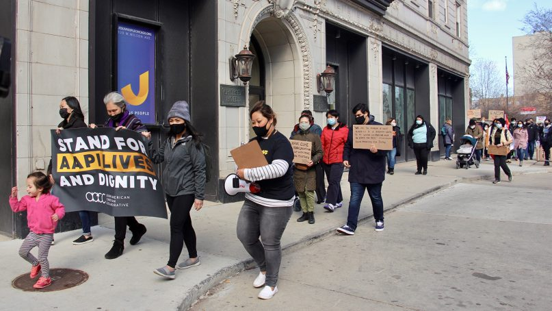 The Chicago rally and march, organized by the Asian American Christian Collaborative, was one of 14 events held Sunday, March 28, 2021, as part of the National Rally for AAPI Lives and Dignity. RNS photo by Emily McFarlan Miller
