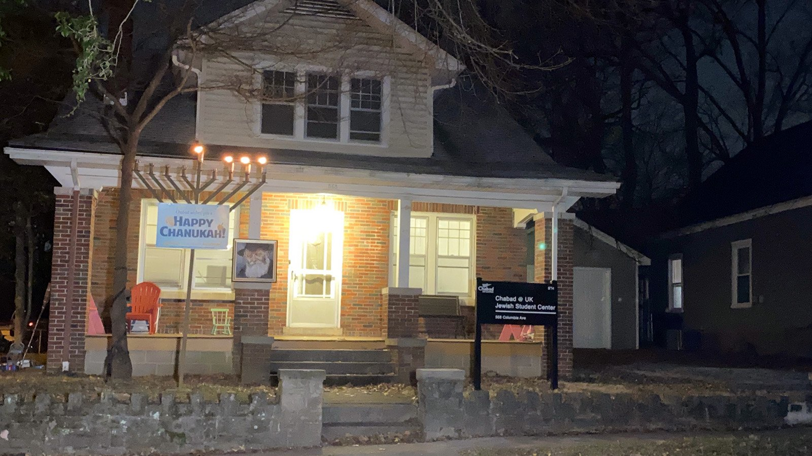 This photo was taken on Dec. 12, 2020, shortly after a man shouting anti-Semitic epithets attacked a participant in a menorah-lighting event outside the Jewish Student Center at the University of Kentucky at Lexington. Photo courtesy of Rabbi Shlomo Litvin