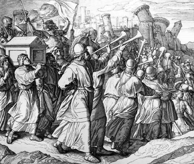"""Trumpeting the past? The Bible has conflicting narratives over the conquest of Canaan. """"The Battle of Jericho"""" by Julius Schnorr von Carolsfeld (1794-1872). Image courtesy of Creative Commons"""