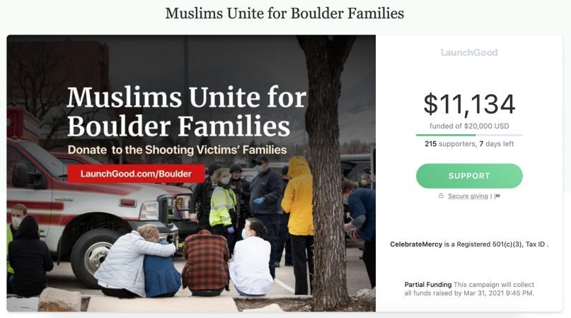 CelebrateMercy, a nonprofit that teaches about the Prophet Muhammad, started a crowdfunding campaign to raise money for the families of the victims killed in the Boulder shooting earlier this week. Screenshot of crowdfunding website