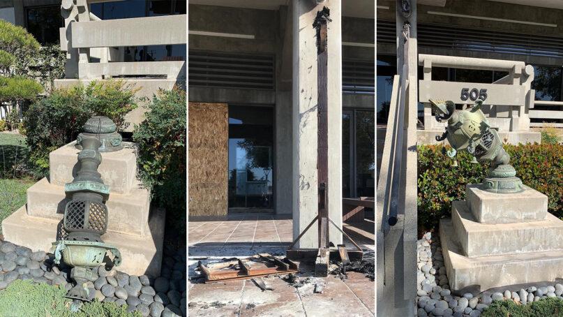 Recent vandalism at Higashi Honganji Buddhist Temple in Los Angeles. Photos via Facebook/Higashi Honganji Buddhist Temple