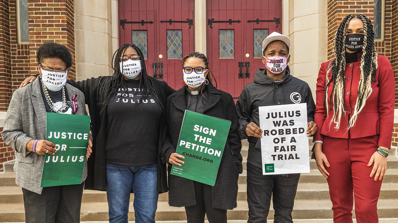 Oklahoma activist and faith leader Cece Jones-Davis, center, with family and supporters of Julius Jones, Thursday, Feb. 25, 2021, in Oklahoma City. At left is Madeline Davis-Jones, the mother of Julius Jones. Courtesy photo