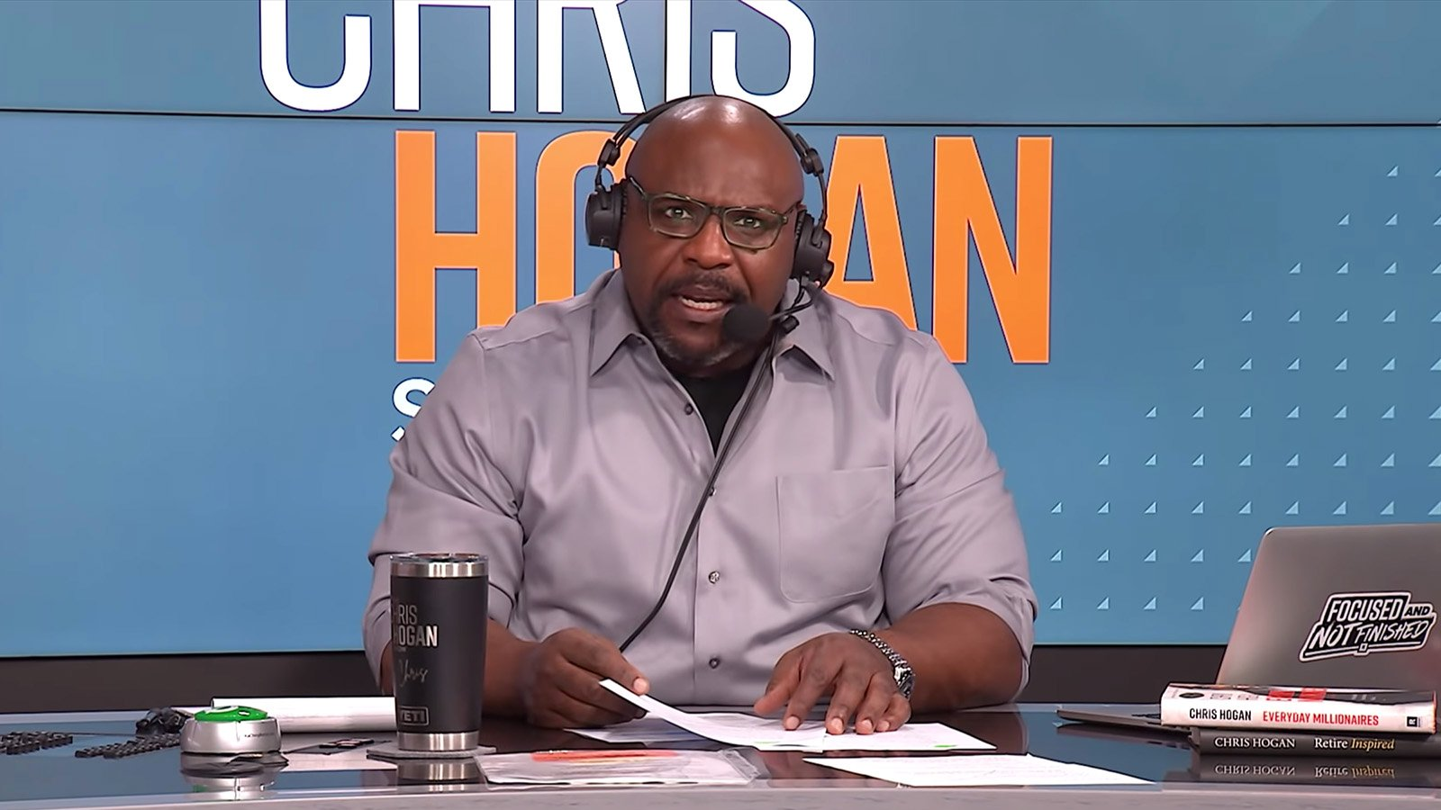 Chris Hogan as host of his own popular show on the Ramsey Solutions platform. Video screengrab