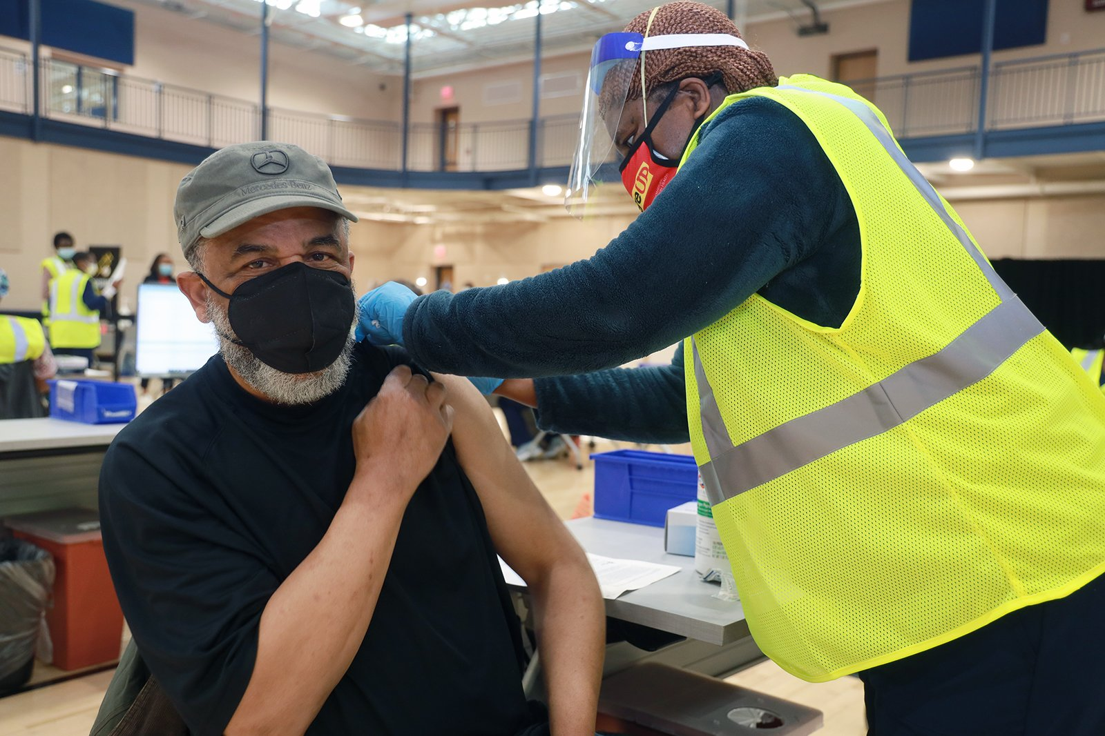 A man receives a COVID-19 vaccine at First Baptist Church of Glenarden in Upper Marlboro, Maryland, Tuesday, March 16, 2021. Photo courtesy First Baptist Church of Glenarden