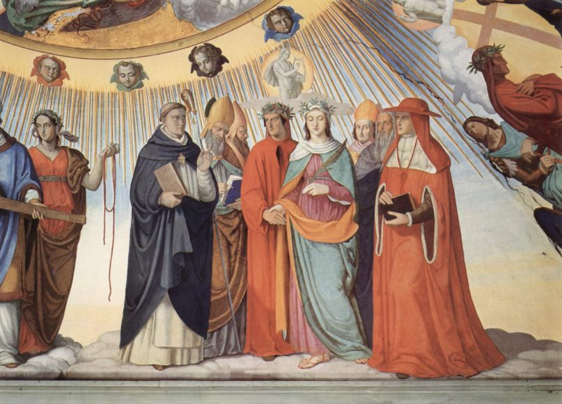 In Philipp Veit's painting about Paradiso, Dante and Beatrice speak to the teachers of wisdom Thomas Aquinas, Albertus Magnus, Peter Lombard and Siger of Brabant in the Sphere of the Sun, Canto 10. Image courtesy of Wikimedia Commons/Creative Commons