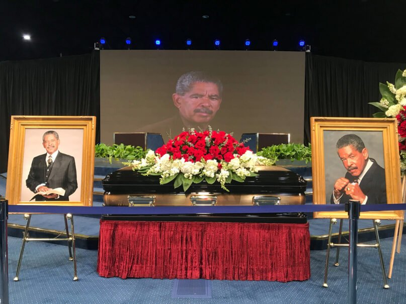 """A public viewing is held for the late Rev. Frederick K.C. """"Fred"""" Price on Thursday, March 4, 2021, at FaithDome in Los Angeles. RNS photo by Alejandra Molina"""