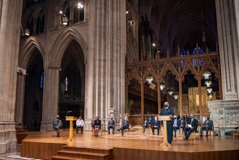 A gathering of interfaith clergy members, community leaders and officials at the Washington National Cathedral, to encourage faith communities to get the COVID-19 vaccine, Tuesday, March 16, 2021, in Washington. Photo by Danielle E. Thomas/Washington National Cathedral