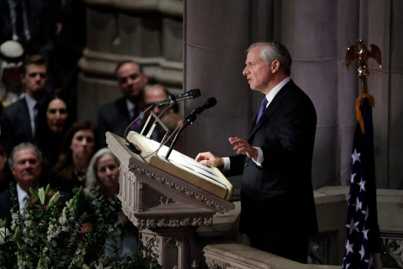 Presidential biographer Jon Meacham speaks during the state funeral for former President George H.W. Bush at the Washington National Cathedral, Dec. 5, 2018, in Washington. (AP Photo/Evan Vucci)