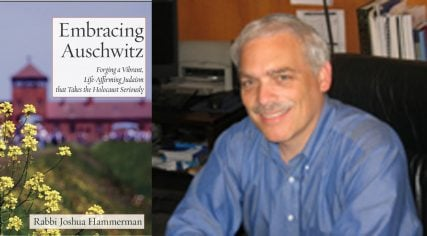 """Right, Rabbi Joshua Hammerman and his book """"Embracing Auschwitz"""". Left image courtesy of joshuahammerman.com right image courtesy of Temple Beth El"""