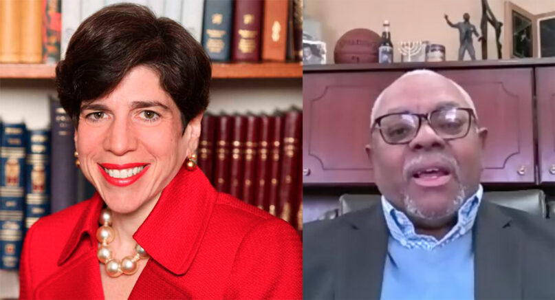 Left, Rabbi Julie Schonfeld and Pastor Clarence C. Moore. Left courtesy of Julie Schonfeld, right from screengrab