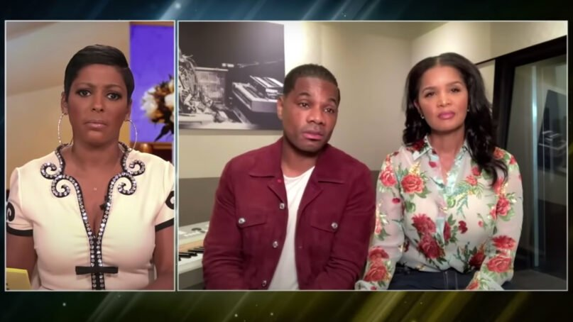Tamron Hall, left, interviews Kirk Franklin and his wife, Tammy Collins, on March 17, 2021. Video screengrab