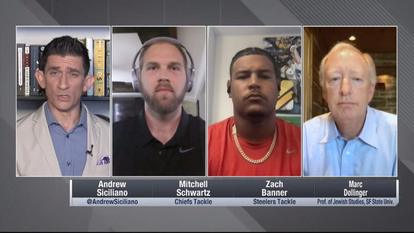 Marc Dollinger, right, joins an NFL Roundtable discussion show in July 2020. Video screengrab