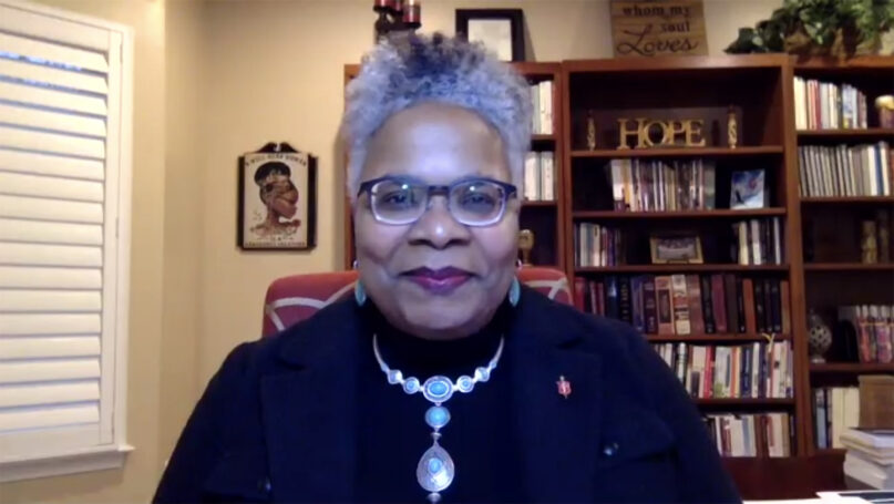 United Methodist Church Bishop LaTrelle Easterling, of the Baltimore-Washington Conference, delivers a virtual State of the Church address March 16, 2021. Video screengrab