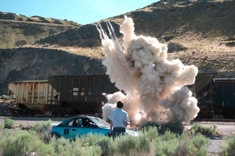 """A scene from """"Murder Among the Mormons"""" re-enacts when Mark Hoffman tested a homemade explosive. Image courtesy of Netflix"""