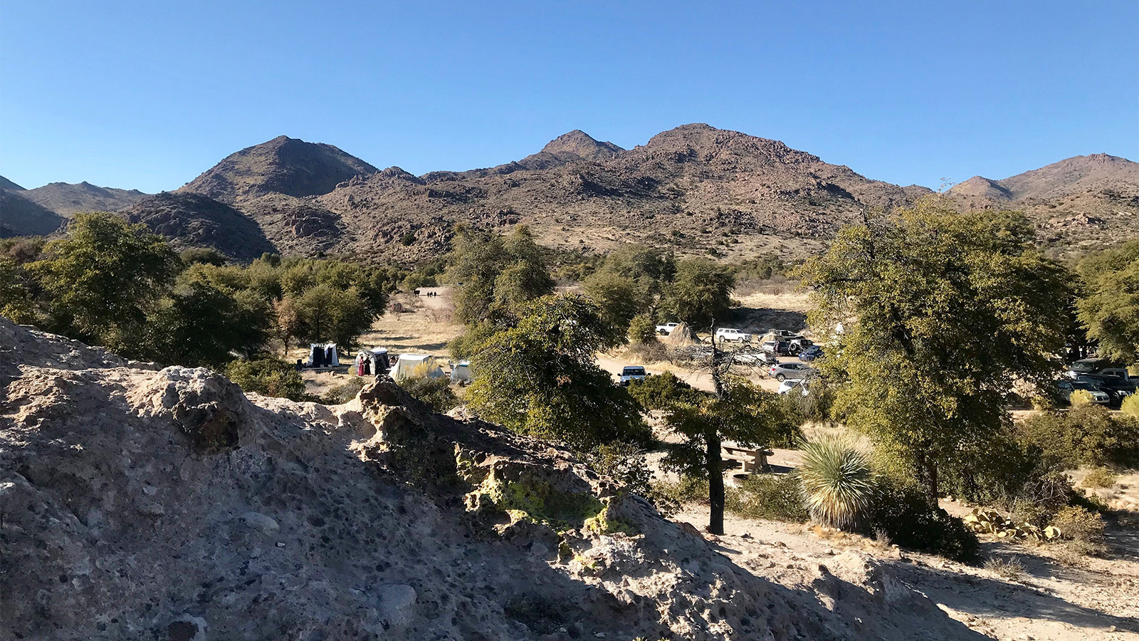 An overview of the Oak Flat campground, Saturday, Feb. 27, 2021, near Superior, Arizona. RNS photo by Alejandra Molina