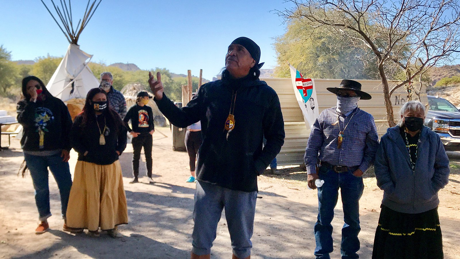 Wendsler Nosie Sr., leader of Apache Stronghold, addresses supporters of Oak Flat, including people from other Native American groups and runners who participated in a protest run in support for Oak Flat, Saturday, Feb. 27, 2021, in Oak Flat, Arizona. RNS photo by Alejandra Molina
