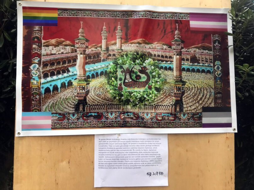 A pro-LGBTQ poster at Bosphorus University in Turkey with the image of the mythical creature Şahmeran. Image via Twitter