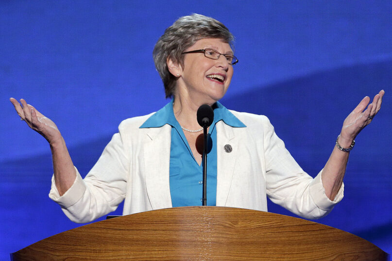 Sister Simone Campbell addresses the Democratic National Convention in Charlotte, N.C., on Wednesday, Sept. 5, 2012. (AP Photo/J. Scott Applewhite)