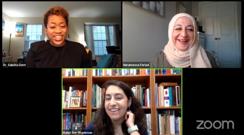 """""""Sister Act"""" podcast  co-hosts Sabrina Dent, clockwise from top left, Hurunnessa Fariad and Rabbi Susan Shankman share a laugh during a virtual meeting. Video screengrab"""