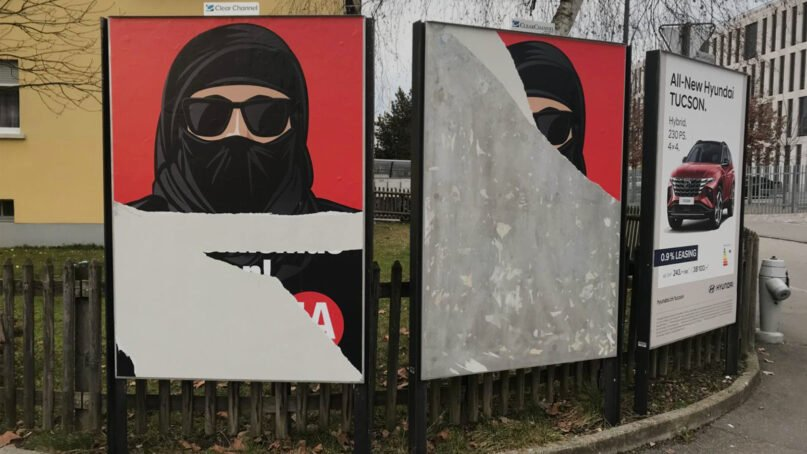 Several defaced ads that support a Swiss facial covering ban. Image via Egerkinger Komitee