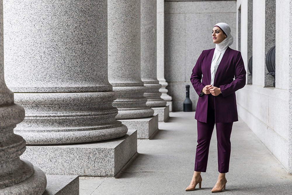 Tahanie Aboushi at the New York State Supreme Court Building in Manhattan. Photo by Kisha Bari
