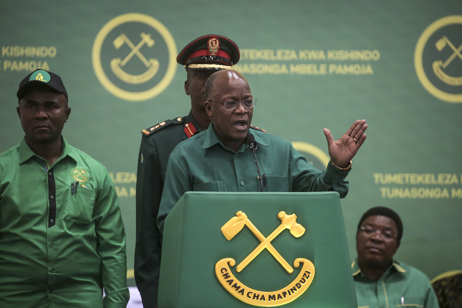 FILE - In this July 11, 2020, file photo, Tanzania's President John Magufuli speaks at the national congress of his ruling Chama cha Mapinduzi (CCM) party in Dodoma, Tanzania. Tanzania's president John Magufuli finally acknowledged Sunday, Feb. 21, 2021, that his country has a coronavirus problem after claiming for months that the disease had been defeated by prayer, urging citizens to take precautions and even wear face masks - but only locally made ones. (AP Photo, File)