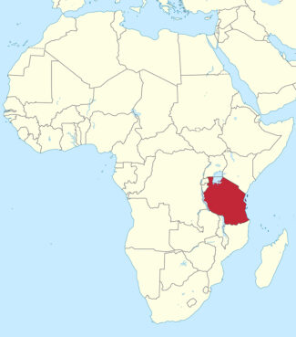 Tanzania, red, in eastern Africa. Map courtesy of Creative Commons