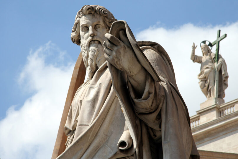 Adamo Tadolini's statue of St. Paul stands in front of St. Peter's Basilica at the Vatican. Photo by AngMoKio/Creative Commons