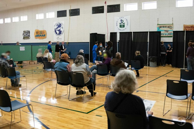 People waiting to get a COVID-19 vaccine at a pop- up site in the gym of Mt. Vernon Baptist Church in Boone, North Carolina where Samaritan's Purse is helping with distribution. Photos courtesy Samaritan's Purse